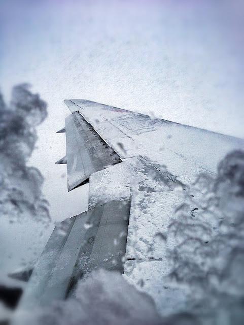 機内からの豪雪風景